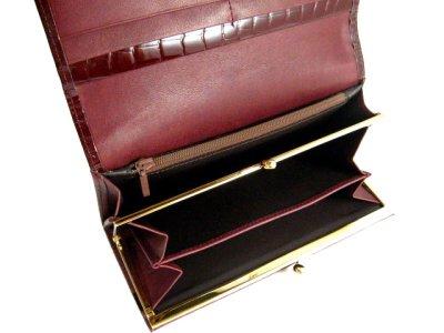画像1: エナメル 長財布(口金・ファスナー付) ワイン