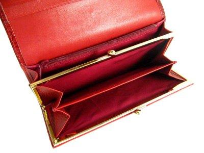 画像1: エナメル 長財布(口金・ファスナー付) レッド