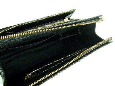 画像1: エナメル 財布付クラッチバック ブラック