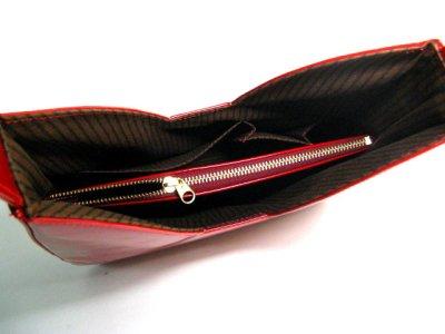 画像1: エナメル ハンドバッグ ワインレッド