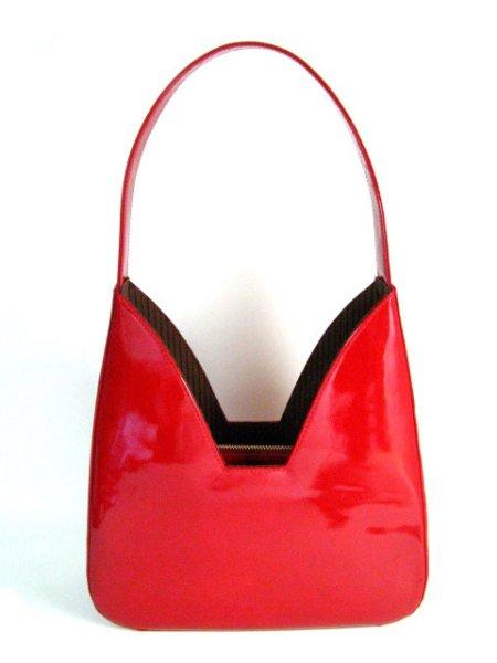 画像1: エナメル ハンドバッグ ワインレッド (1)